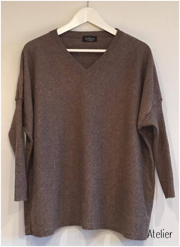2ac080a78d176a Loose Fitting V Neck Everyday Sweater in Mocha fits up to size 16 ...