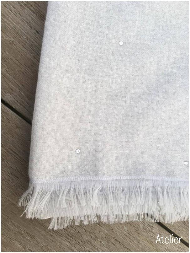 39df52d594 Stunning Off-White Fine Gauze Cashmere Scarf with Swarovski Crystals