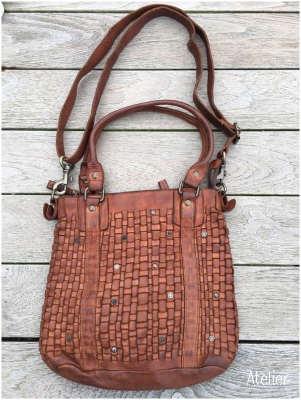 Woven Tan Vintage Leather Tote Bag (Medium)