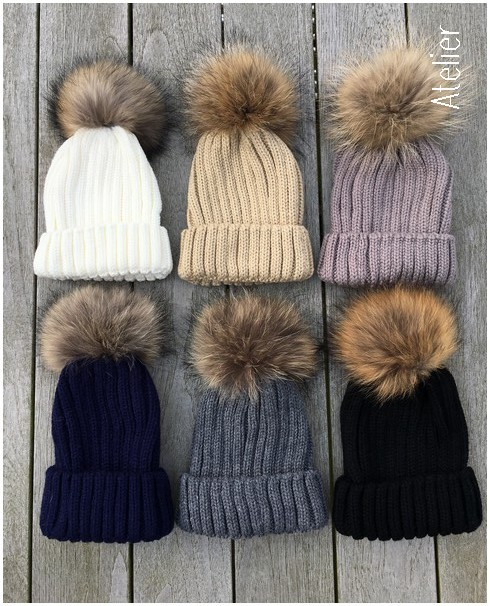 323e28e5ecd Fur Pom Pom Rib Knit Hat in Navy