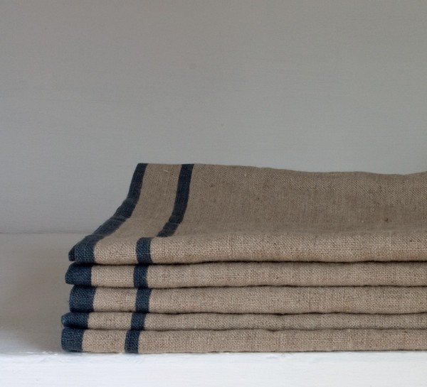 Cote Bastide Large 100% Linen Kitchen Towel Natural/3 Dark Blue Stripes