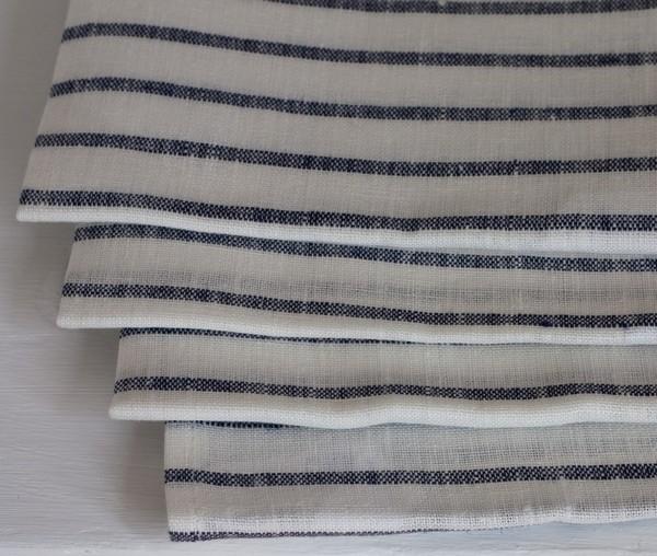 Fog Linen Work /Navy Stripe 100% Linen Kitchen/Tea Towel