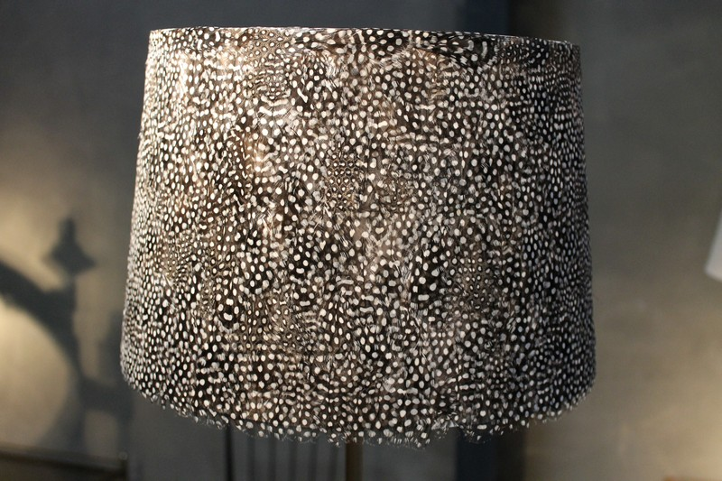 Feather Lampshade Guinea Fowl Feather Lampshade Black