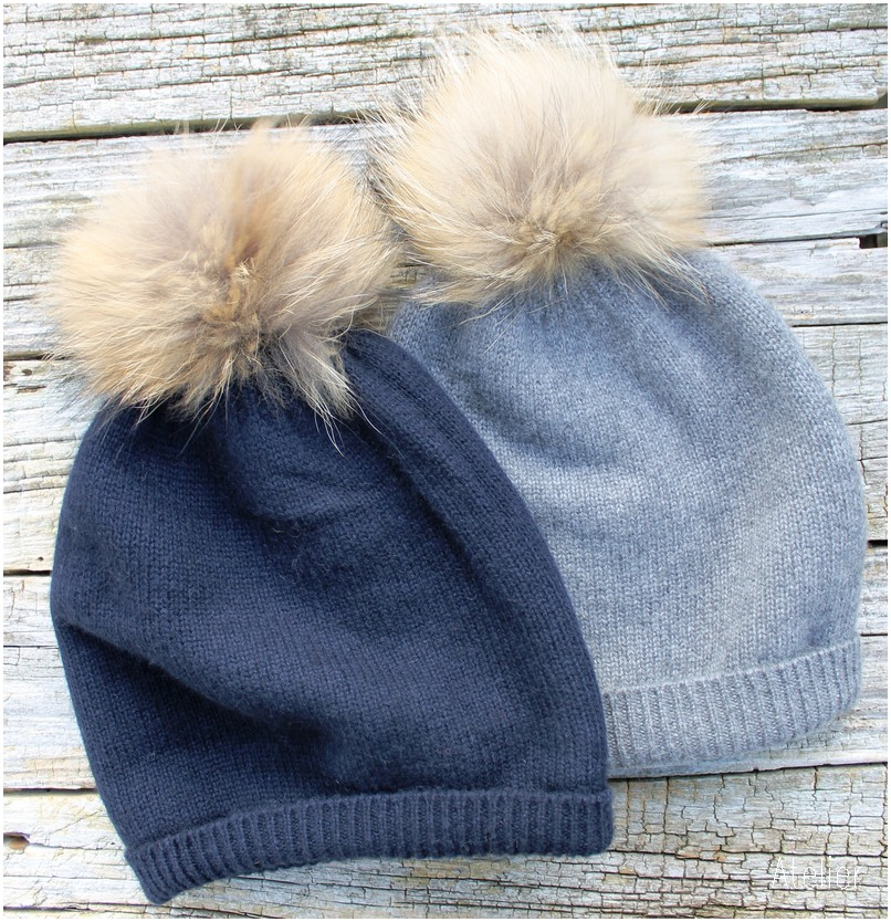 Gorgeous Cashmere Double Layer Fur Pom Pom Hat in Navy or Grey is ... e5575bb55a5e