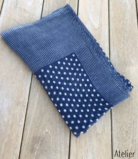 Navy Wool Gauze Scarf in simple pattern