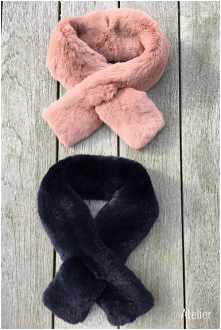 French Fur Collars in Navy and Pink Nude