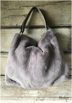Soft Fur Bag with Shoulder and Cross Body Straps in Light Grey