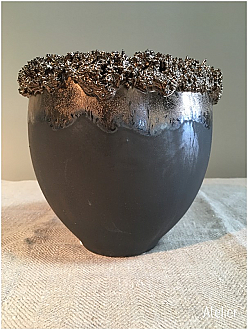 Metallic Tones Planter with Encrusted Detailing