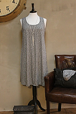 Cotton & Bamboo Sleeveless Tunic Dress in Dove Grey & Antique White by Two Danes