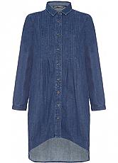 Elegant Denim Button Down Tunic with Side Pockets