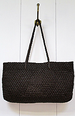 Leather Woven Tote in Dark Brown