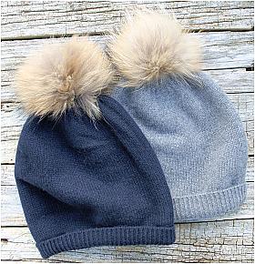 Cashmere Double Layer Fur Pom Pom Hat