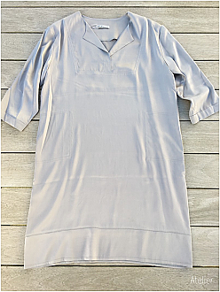Stretch Silk Tunic Dress in New Dawn with Side Pockets
