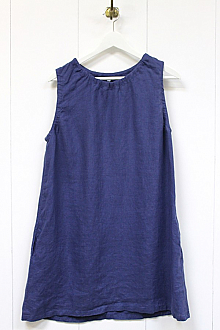 Linen Tunic Dress with Side Pockets (French Blue)