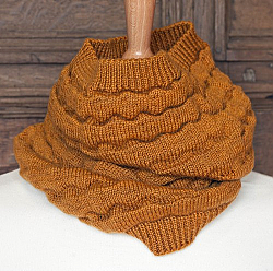Scarf - Camel Soft Merino Wool Circle Scarf and Neck Warmer