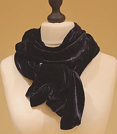 Classic Silk Velvet Scarf in Shadow Vintage Navy