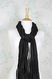 Linen Scarf in Black 100% Linen
