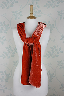 Silk Velvet Scarf in Flame