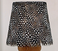 Feather Lampshade - Guinea Fowl Feather Lampshade (black and white)