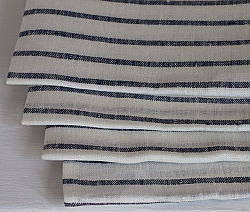 Fog Linen Work /Navy Stripe 100% Linen Kitchen/Tea Towel
