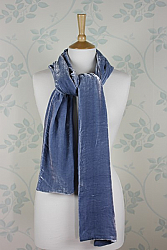 Silk Velvet Scarf in Pale Blue
