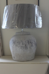 Large Chalky Grey White Ceramic Lamp With L Linen Shade